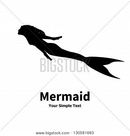Vector illustration of a mermaid silhouette isolated on white background. Sea nymph with an inscription.