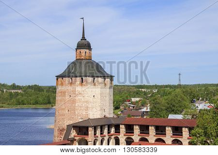 Kirillov, Russia - May 28: These are tower and walls of Cyril-Belozersky Monastery which was in the 15-17 centuries one of the largest and richest monasteries of the Russian North May 28, 2013 in Kirillov, Russia.