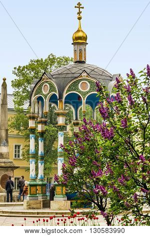 Sergiev Posad, Russia - May 23: This is the church pavilion in Trinity-Sergius Laurus of Russian Orthodox Patriarchate May 23, 2013 in Sergiev Posad, Russia.