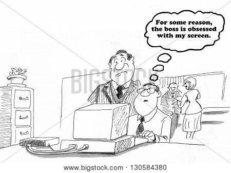 Business cartoon about a boss lurking over worker's shoulder.