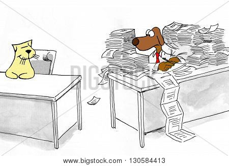Business cartoon about a worker envious that his coworker has completed all of his work.