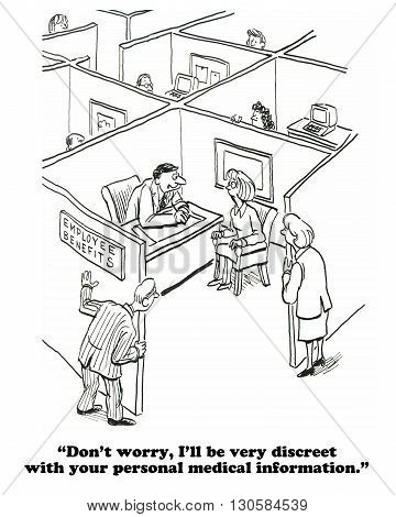 Business cartoon about the lack of privacy in open offices. poster