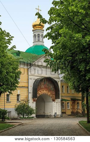 Sergiev Posad, Russia - May 23: This is the second gate into Trinity-Sergius Laurus of Russian Orthodox Patriarchate May 23, 2013 in Sergiev Posad, Russia.