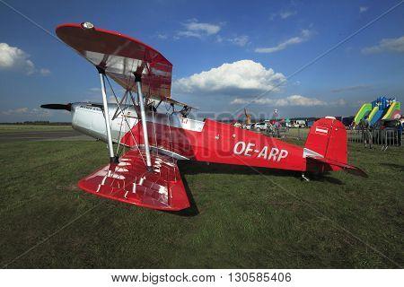 Pribram Czech republic - 12th September 2010. Bucker 131 Jungmann on the ground IN AIRPORT pRIBRAM 12th September 2010