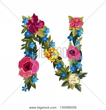 N letter. Flower capital alphabet. Colorful font. Uppercase. Vector illustration. Grotesque style. Floral alphabet.