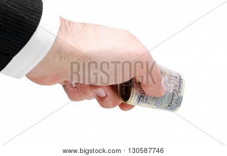 Businessman's hand holding a stack of twenty pounds notes isolated on white background.