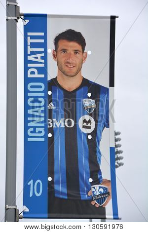 MONTREAL QUEBEC CANADA MAY 15 2016: Ignacio Nacho Piatti sign is an Argentine professional footballer who currently plays as a midfielder for the Montreal Impact in Major League Soccer.