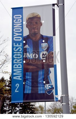 MONTREAL QUEBEC CANADA MAY 15 2016: Ambroise Oyongo Bitolo sign (born 22 June 1991) is a Cameroonian professional footballer who plays as a Left back for the Montreal Impact in Major League Soccer.