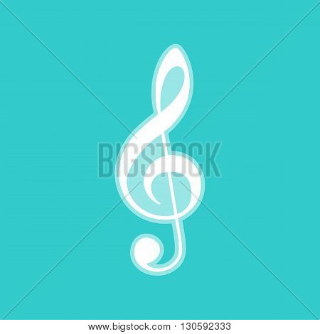 Music violin clef sign. G-clef. Treble clef. White icon with whitish background on torquoise flat color.