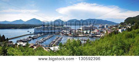 KETCHIKAN, ALASKA - MAY 18, 2015: Panoramic view of Ketchikan, Alaska.