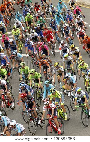 BARCELONA - MARCH, 27: Pack of the cyclists ride during the Tour of Catalonia cycling race through the streets of Monjuich mountain in Barcelona on March 27, 2016
