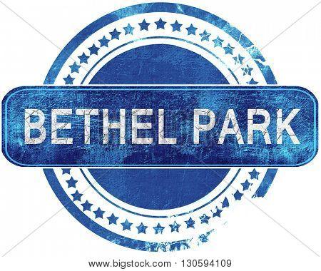 bethel park grunge blue stamp. Isolated on white.