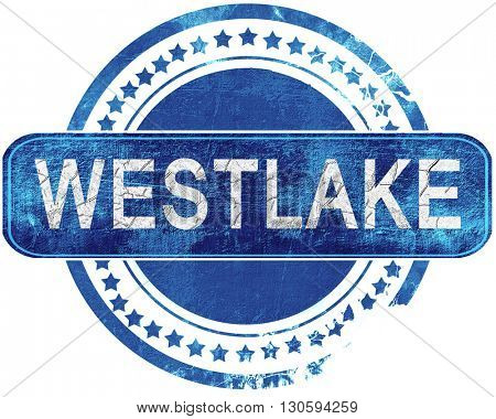 westlake grunge blue stamp. Isolated on white.