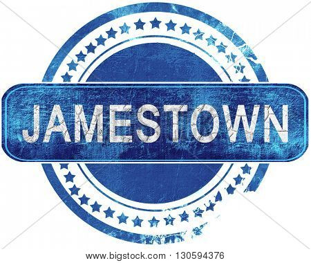 jamestown grunge blue stamp. Isolated on white.