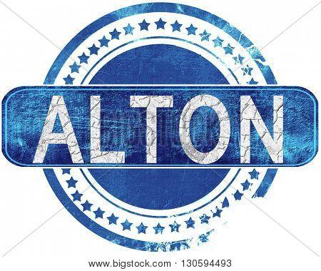 alton grunge blue stamp. Isolated on white.