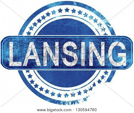 lansing grunge blue stamp. Isolated on white.