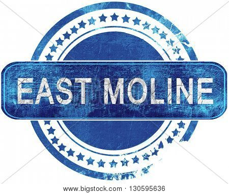 east moline grunge blue stamp. Isolated on white.
