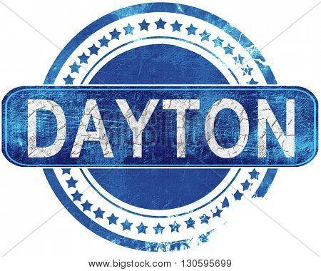 dayton grunge blue stamp. Isolated on white.