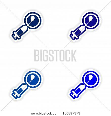 Set paper stickers on white background artificial insemination