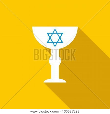 Cup with Star of David icon in flat style on a yellow background