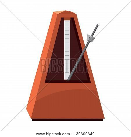 Classic metronome icon in cartoon style on a white background