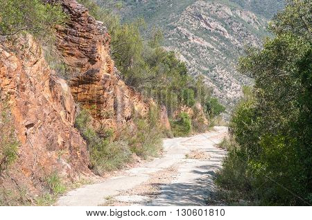 A steep section of the road in the Holgat Pass in the wilderness area of the Baviaanskloof (baboon valley)