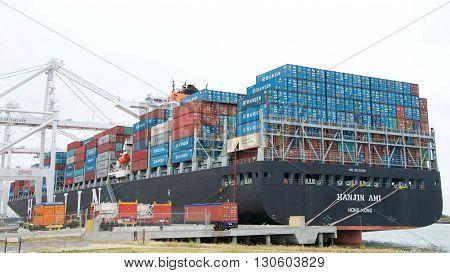 Cargo Ship Hanjin Ami Loading At The Port Of Oakland