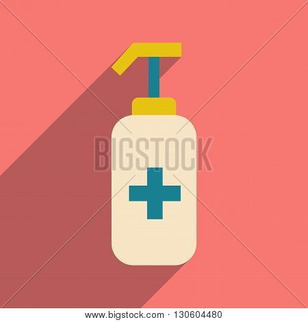 Flat with shadow icon and mobile application medical antiseptics