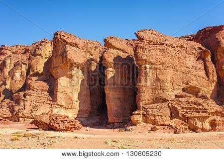 The Solomons Pillars geological and historical place in Timna Park near to Eilat Israel. poster