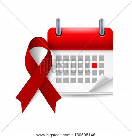 Burgundy awareness ribbon and calendar with marked day. Multiple Myeloma oral cancer amyloidosis support brain aneurysm and adults with disabilities support symbol