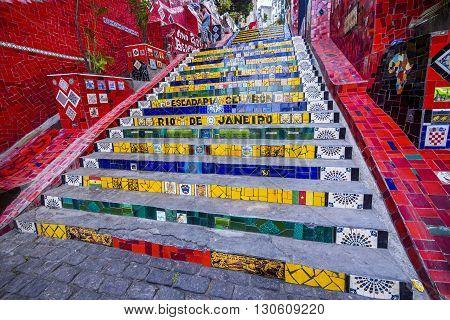 Rio de Janeiro, Brazil - October 2, 2012: Selaron Steps, also known as Lapa Steps, in Rio de Janeiro, Brazil.