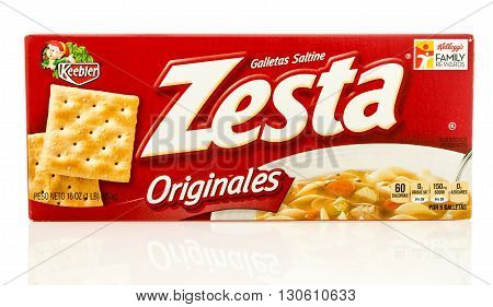 Winneconne WI - 19 May 2016: Box of Zesta saltine crackers on an isolated background