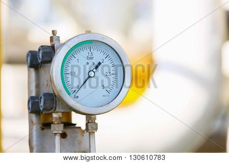 Pressure gauge in oil and gas production process for monitor condition, The gauge for measure in industry job, Industry background and close up gauge.