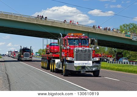 LANCASTER PENNSYLVANIA - MAY 8 2016: Make-A-Wish Foundation sets a new Guinness World Record for the largest truck convoy. On the Mother's Day annual fundraiser truckers grant a Lancaster County wish ride to children with life-threatening illnesses.