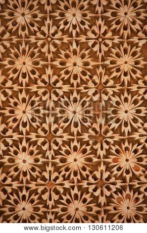 Intricate pattern on the walls of historic Paigah tombs in Hyderabad, Rajasthani and deccan style architecture
