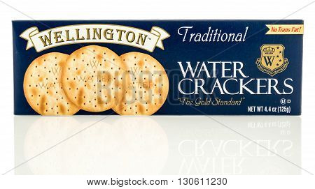 Winneconne WI - 19 May 2016: Package of Wellington water crackers on an isolated background