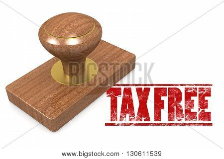 Tax free wooded seal stamp image, 3D rendering