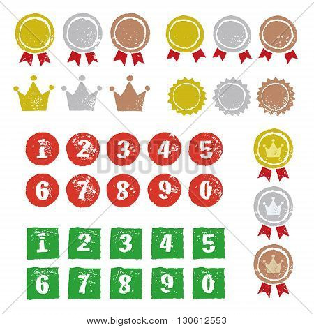Graphic elements medals with ribbons crowns and numbers