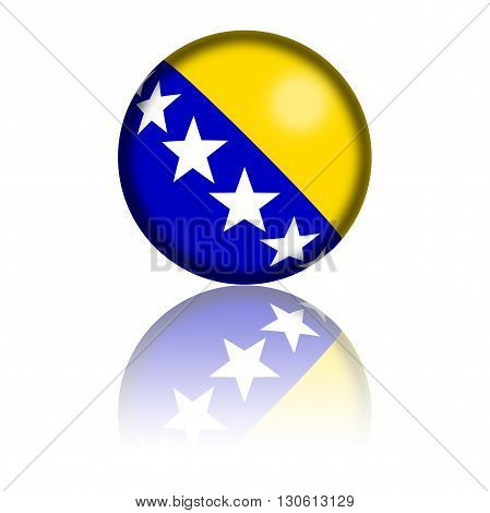 3D sphere or badge of Bosnia and Herzegovina flag with reflection at bottom. poster