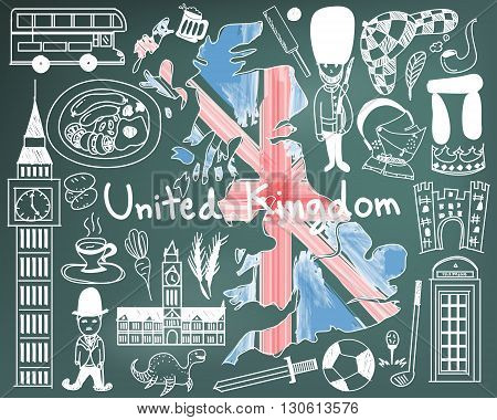 Travel to United kingdom England and Scotland doodle drawing icon with culture costume landmark and cuisine tourism concept in blackboard background create by vector