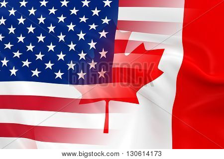 US and Canadian Relations Concept Image - Flags of the United States of America and Canada Fading Together - 3D Illustration