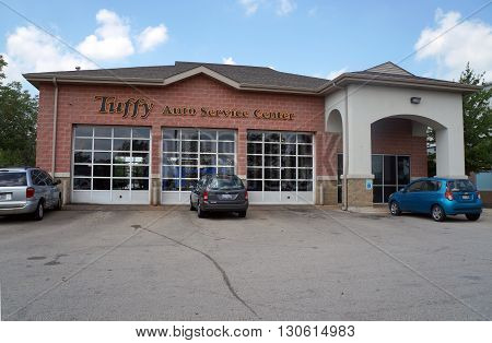 JOLIET, ILLINOIS / UNITED STATES - AUGUST 16, 2015: One may have one's automobile repaired at the Tuffy Auto Service Center in Joliet.