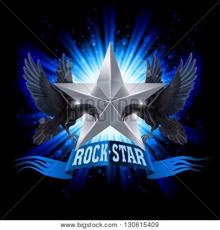 Blue Rock Star banner with two ravens over shining background