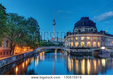 The Bodemuseum and the television tower in Berlin at dawn