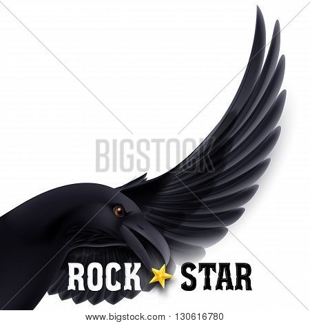 Rock Star concept with raven holding star in its beak over white background