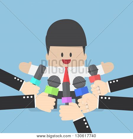 Media Microphones Held In Front Of Business Man