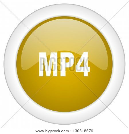 mp4 icon, golden round glossy button, web and mobile app design illustration