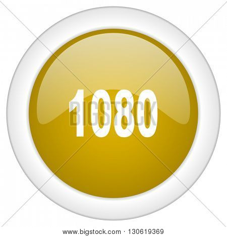 1080 icon, golden round glossy button, web and mobile app design illustration