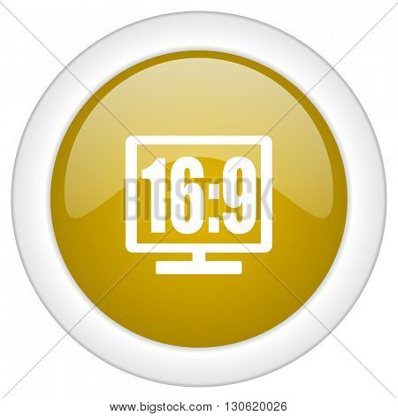 16 9 display icon, golden round glossy button, web and mobile app design illustration