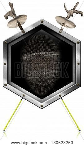 3d Illustration of a hexagonal metallic symbol with fencing mask and two fencing foils. Isolated on white background